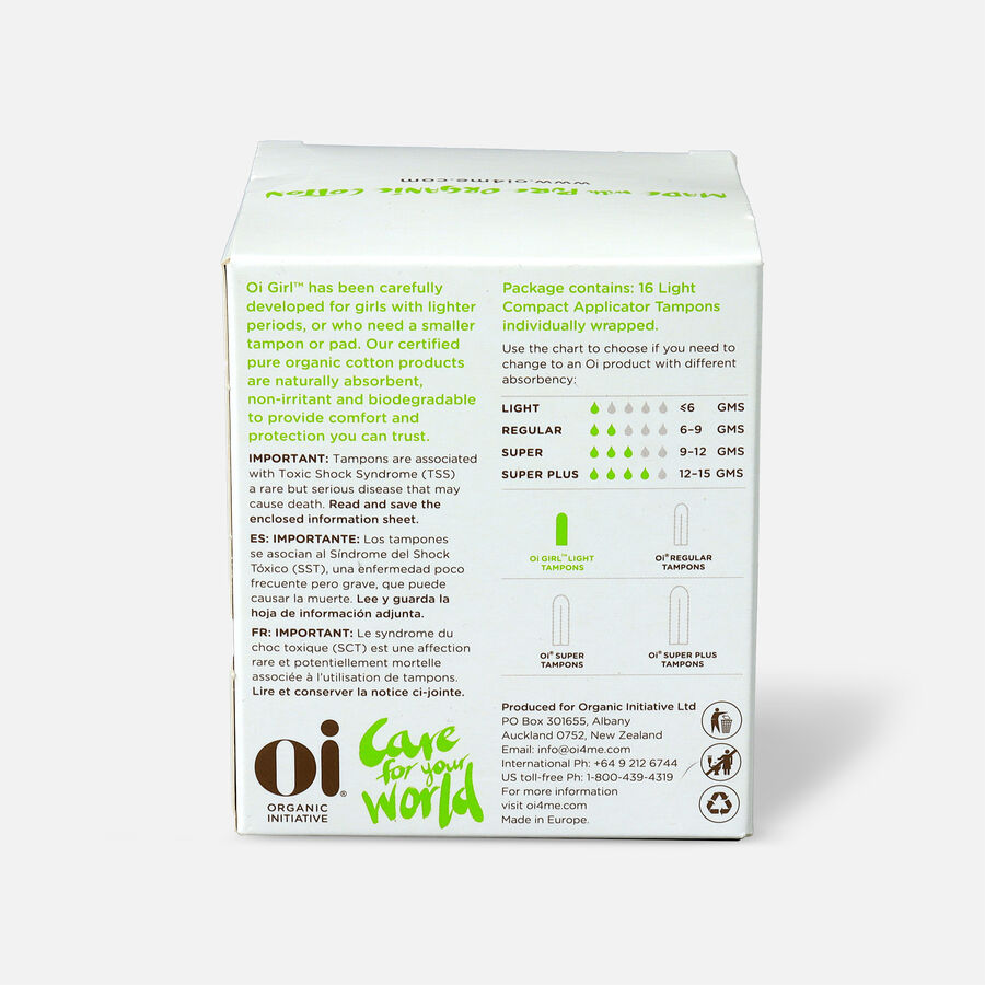 Oi Girl Organic Cotton Tampons with BioCompact Applicator, Light, 16ct, , large image number 1