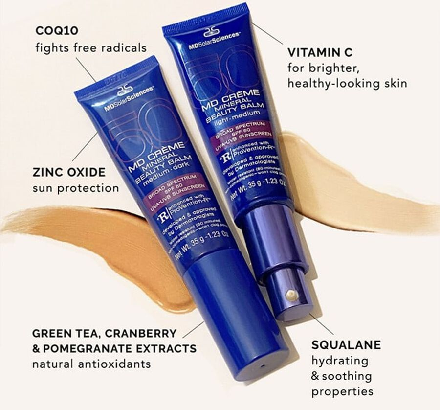 MD Crème Mineral Beauty Balm SPF 50 Face Sunscreen Medium/Dark, 1.23 oz, , large image number 6