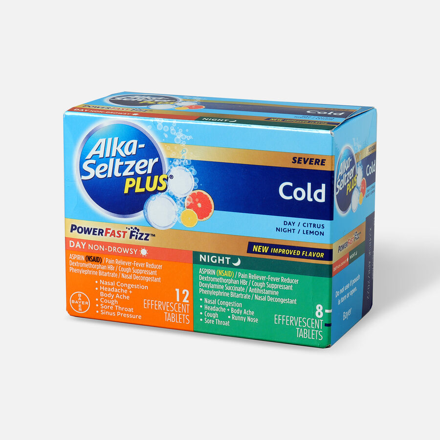 Alka-Seltzer Plus Cold PowerFast Fizz, Day & Night Effervescent Tablets, 20ct, , large image number 2