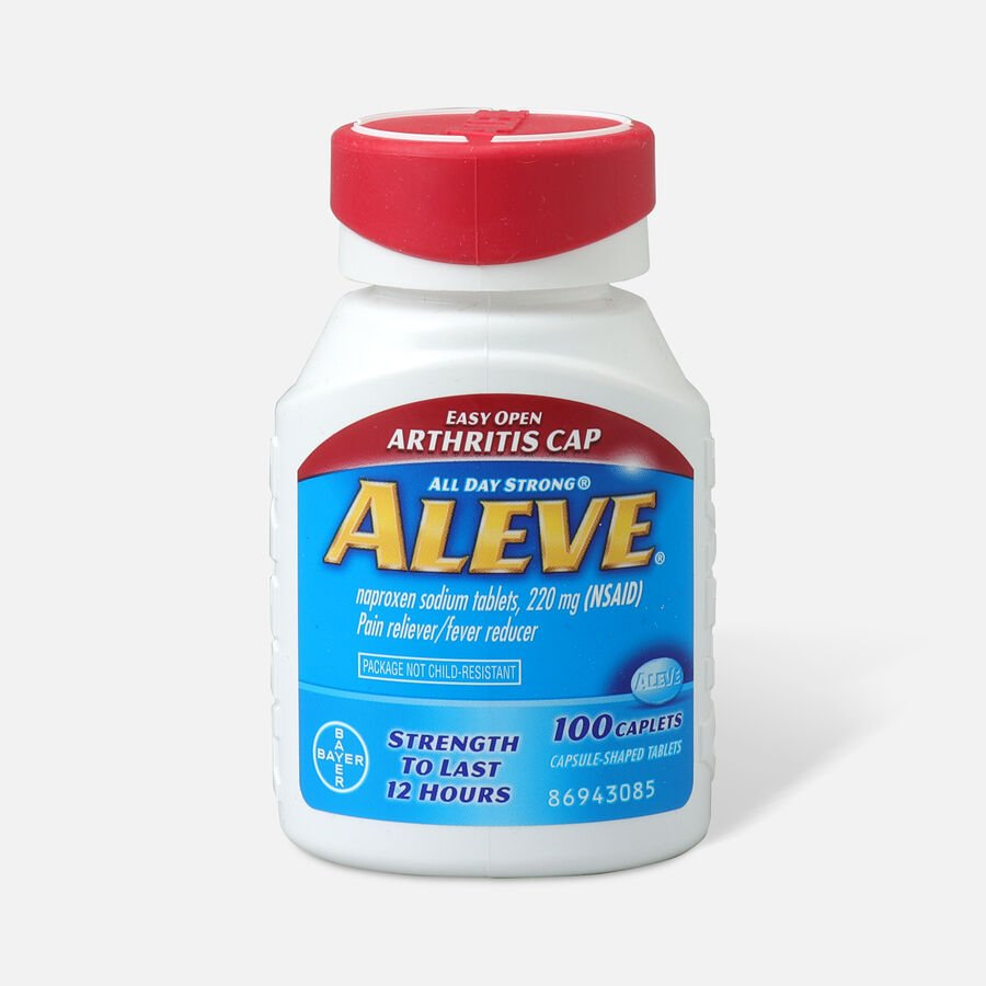 Aleve Pain Reliever, Fever Reducer, 220mg Tablets, Easy Open Cap, 100 ea, , large image number 0
