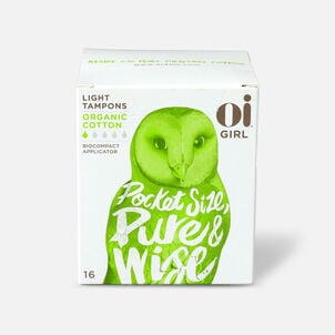 Oi Girl Organic Cotton Tampons with BioCompact Applicator, Light, 16ct