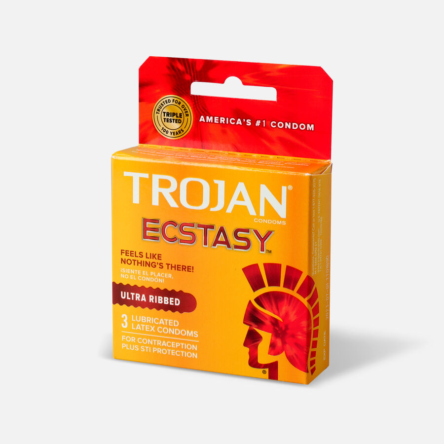 Trojan Ecstasy Ribbed Condoms, 3 ea, , large image number 2
