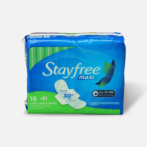 Stayfree Maxi Pads Super Long with Wings, 16ct