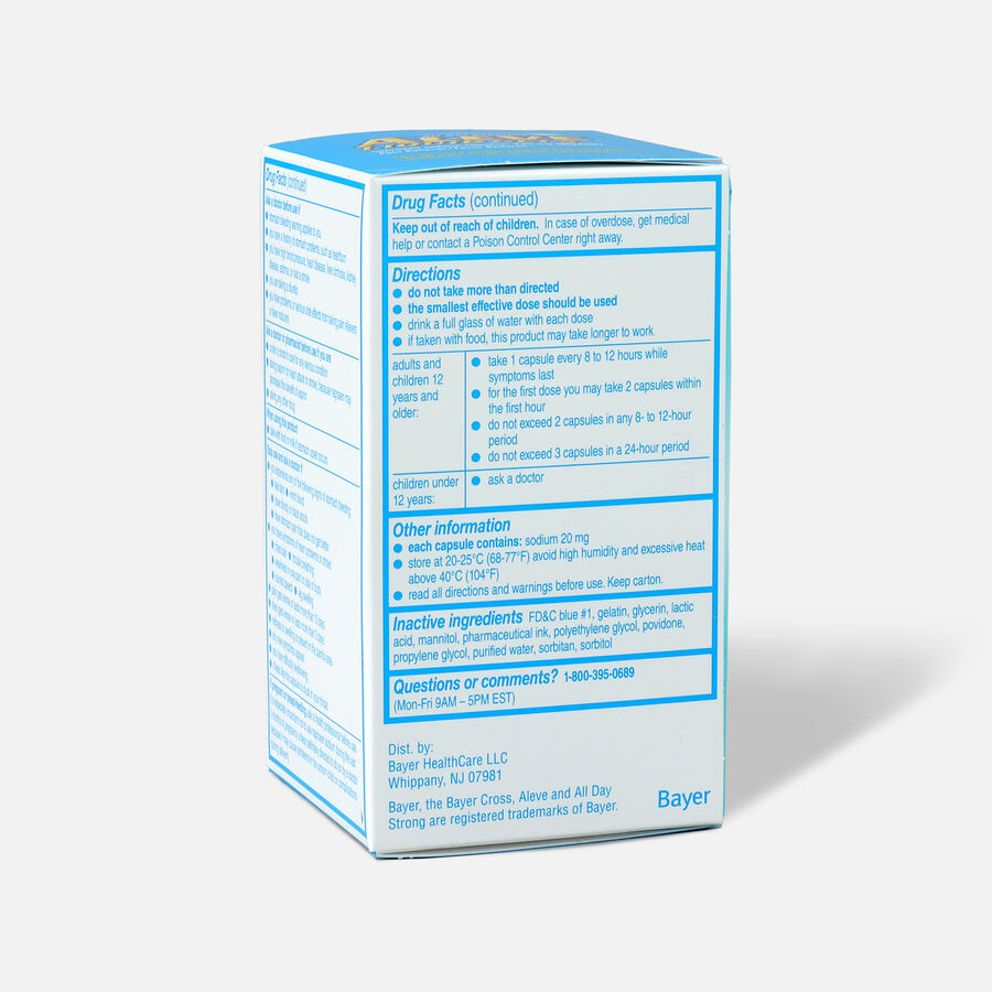 Aleve Liquid Gels Pain Reliever/Fever Reducer, 40 ea, , large image number 4