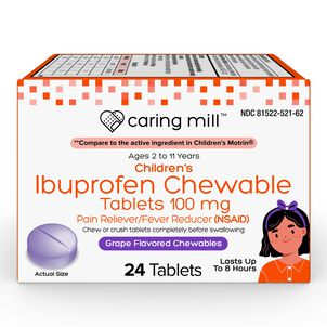 Caring Mill™ Ibuprofen Chewable Tablets 100 mg Pain Reliever/Fever Reducer (NSAID), Grape Flavor, 24 ct
