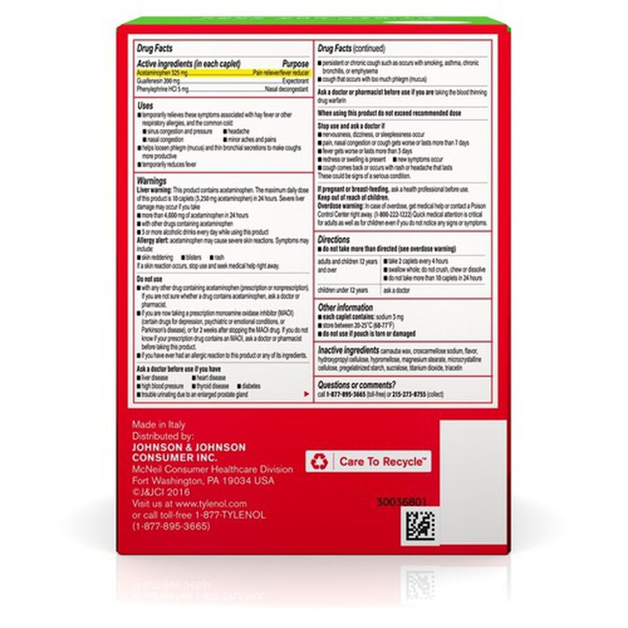 Tylenol Sinus Severe Non-Drowsy Daytime Caplets, 50 Packs of 2 ct, , large image number 2