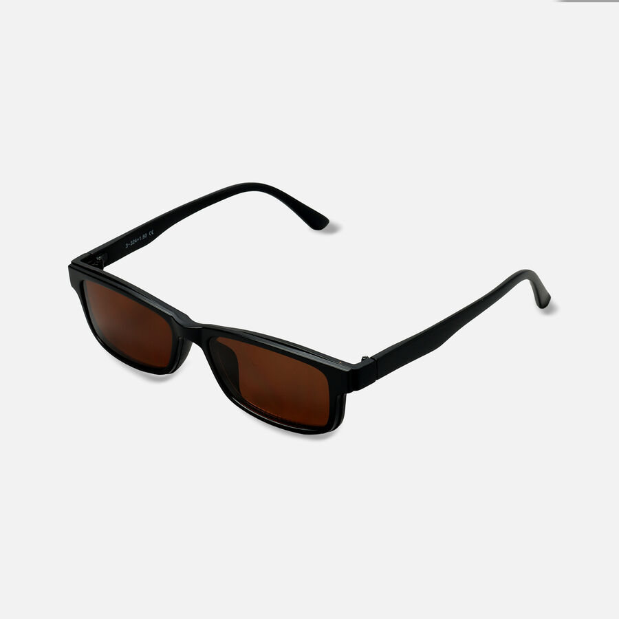 Sunglass Reader with Magnetic Detachable Polarized Lens, +1.50, Black/Brown, Black/Brown, large image number 1