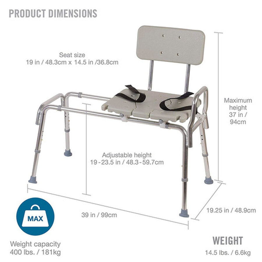 DMI® Sliding Transfer Bench Shower Chair with Cut-Out Seat, , large image number 1