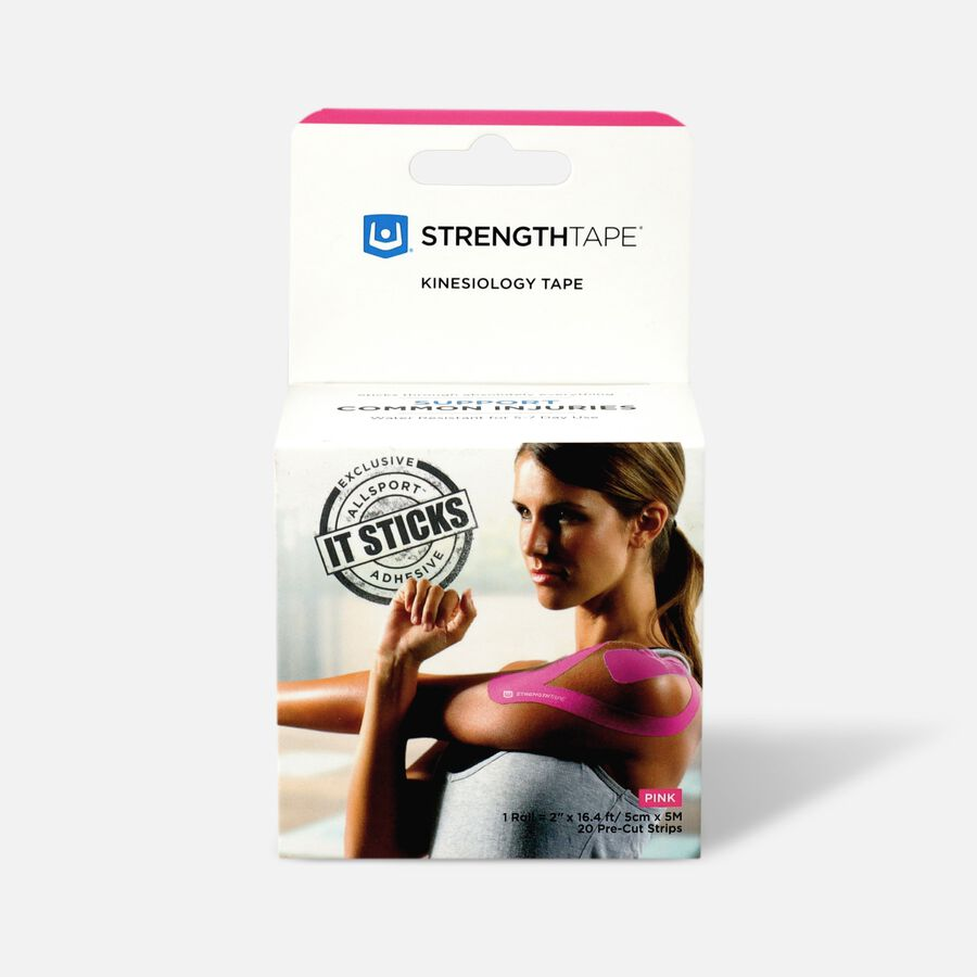 StrengthTape Kinesiology Precut Tape, Pink, 20 ct, Pink, large image number 0