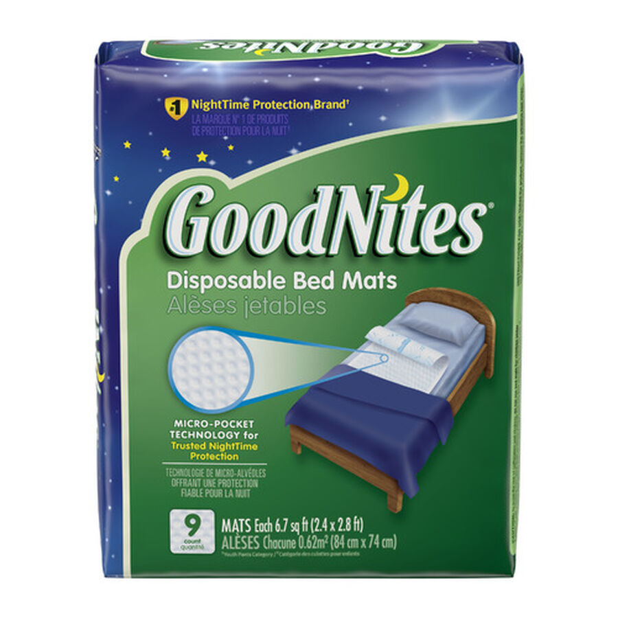 """GoodNites Disposable Bed Pads for Nighttime Bedwetting, Non-Slip Waterproof Mattress Pad, 30"""" x 36"""", 9 Count, , large image number 1"""