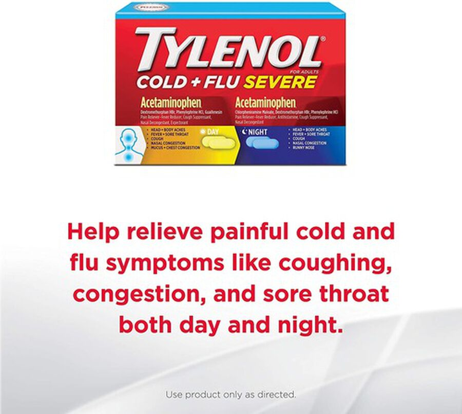 Tylenol Cold + Flu Severe Day & Night Caplets for Fever, Pain, Cough & Congestion Relief, 24 ct., , large image number 4