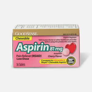 GoodSense® Aspirin 81 mg Low Dose Chewable Tablets, 36 ct