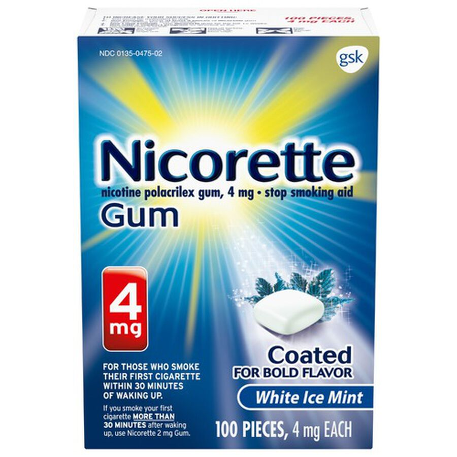 Nicorette Nicotine Gum, White Ice Mint, 4mg, 100 ct, , large image number 0