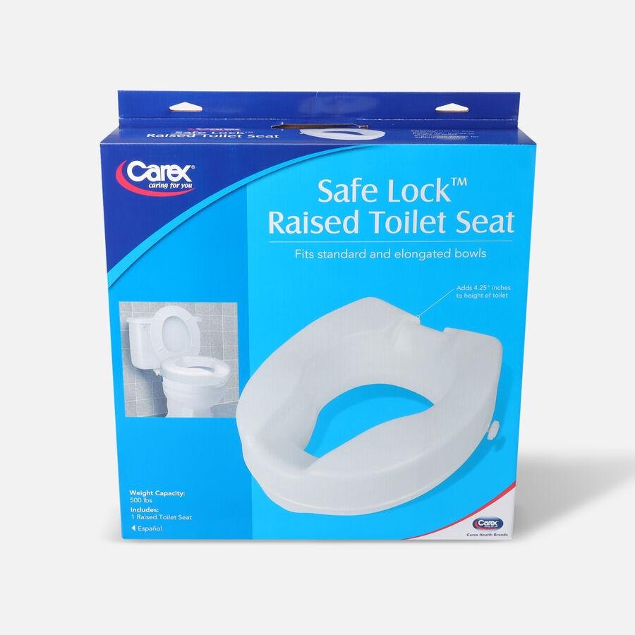 Carex B31300 - Safe Lock Raised Toilet Seat 4.5 high 500lb., , large image number 0
