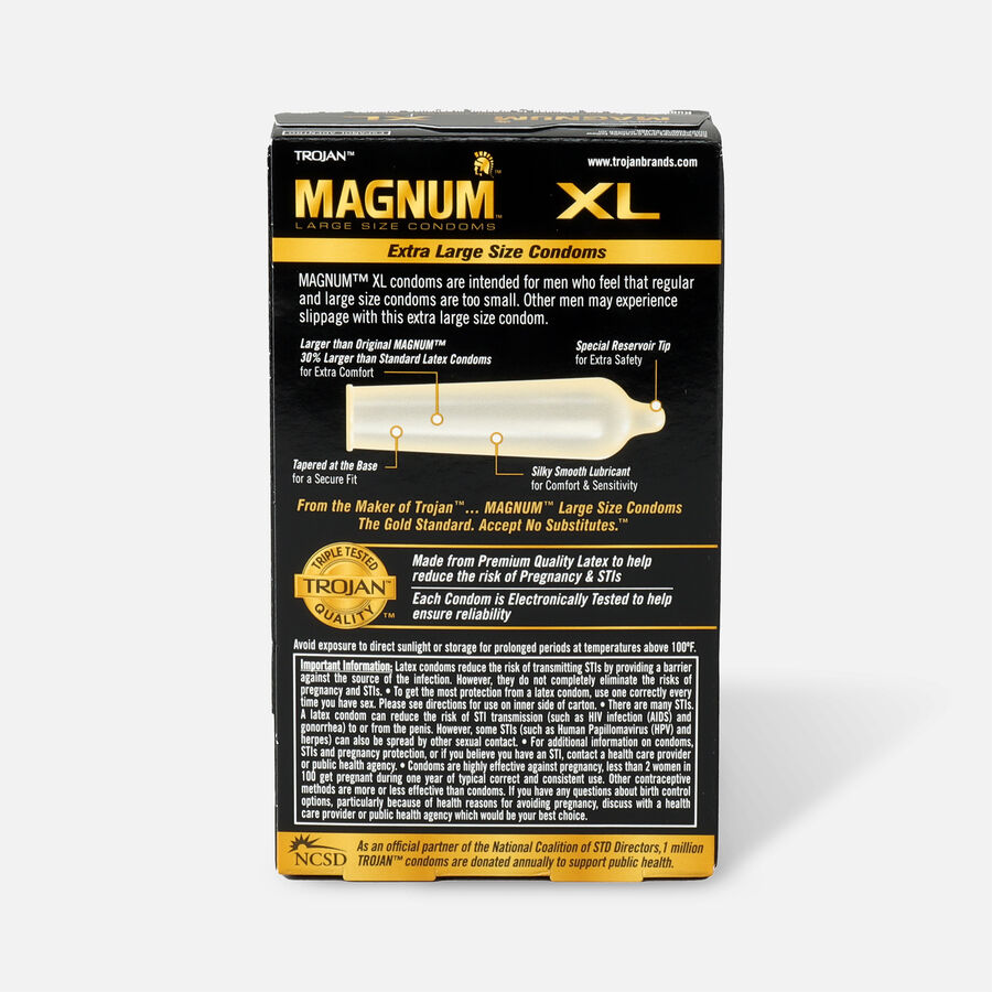 Trojan Lubricated Latex Condoms, Magnum XL, Extra Large 12 ea, , large image number 1