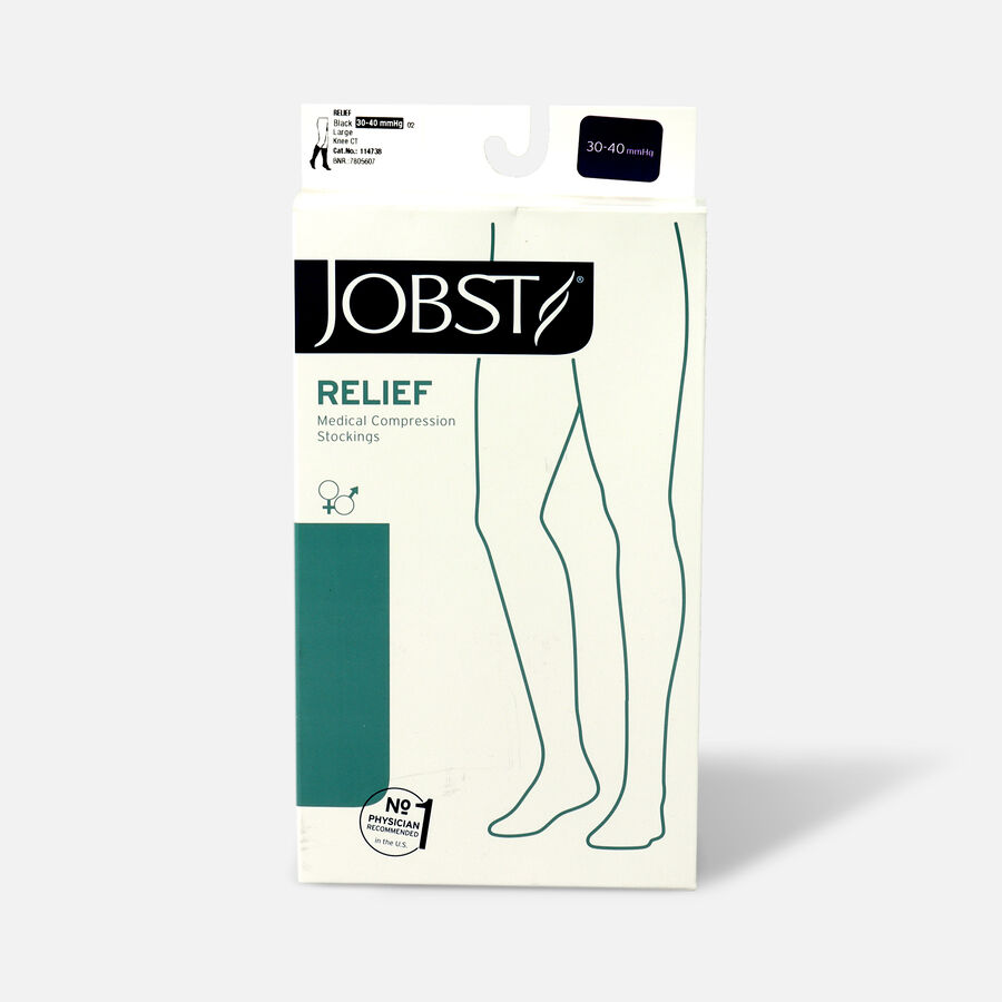 BSN Jobst Unisex Relief Knee-High Extra Firm Compression Stockings, Closed Toe, Large, Black, , large image number 1