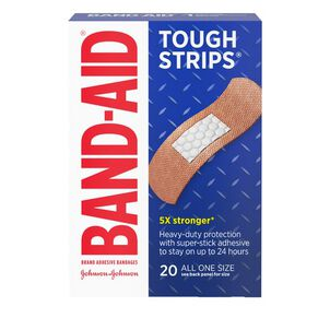 Band-Aid Tough Strips Adhesive Bandage, One Size - 20ct