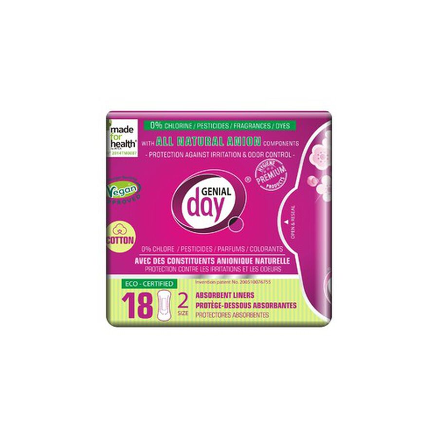 Genial Day Absorbent Cotton Liners w/Anion Strip, 18ct, , large image number 0