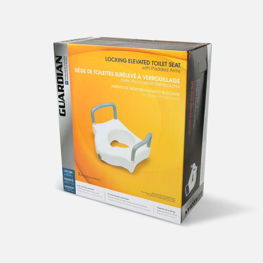 Guardian Locking Raised Toilet Seat with Arms, , large image number 2