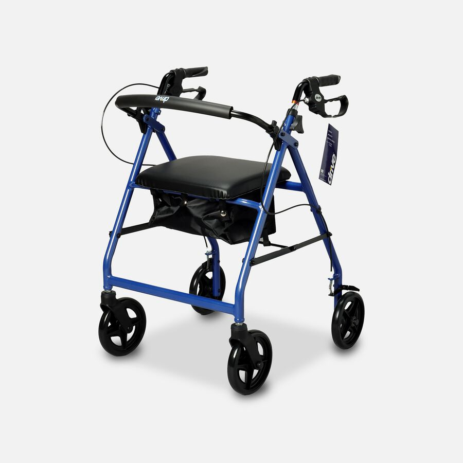 """Drive Aluminum Rollator with Fold Up and Removable Back Support, 8"""" Casters, Blue, , large image number 0"""