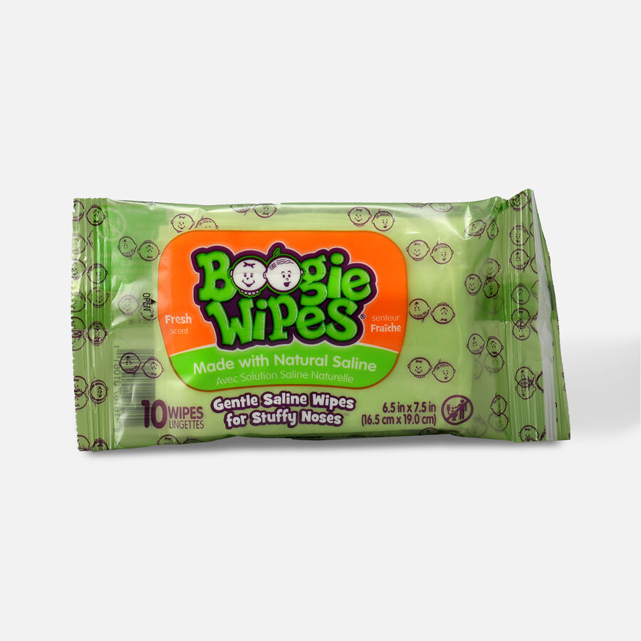 Boogie Wipes Saline Nose Wipes, Fresh Scent Travel Pack, 10ct, , large image number 0