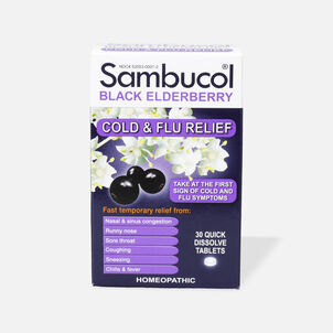 Sambucol Black Elderberry Cold and Flu Relief Tablets, 30 ct