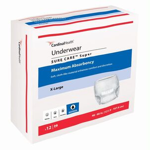 "SURE CARE™ Super Underwear with BreatheEasy™ Technology Maximum Absorbency, X-Large 48"" - 66""- 12 pack"