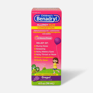 Benadryl-D Allergy & Sinus Liquid, Grape, 4 fl oz