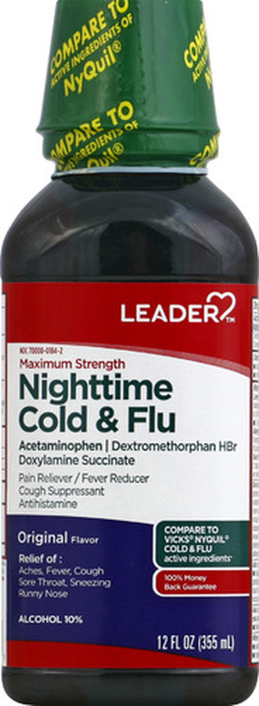 LEADER™ Cold & Flu Nighttime Maximum Strength Liquid 12 oz, , large image number 0