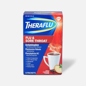 Theraflu Flu & Sore Throat Powder, Apple Cinnamon, 6 ct