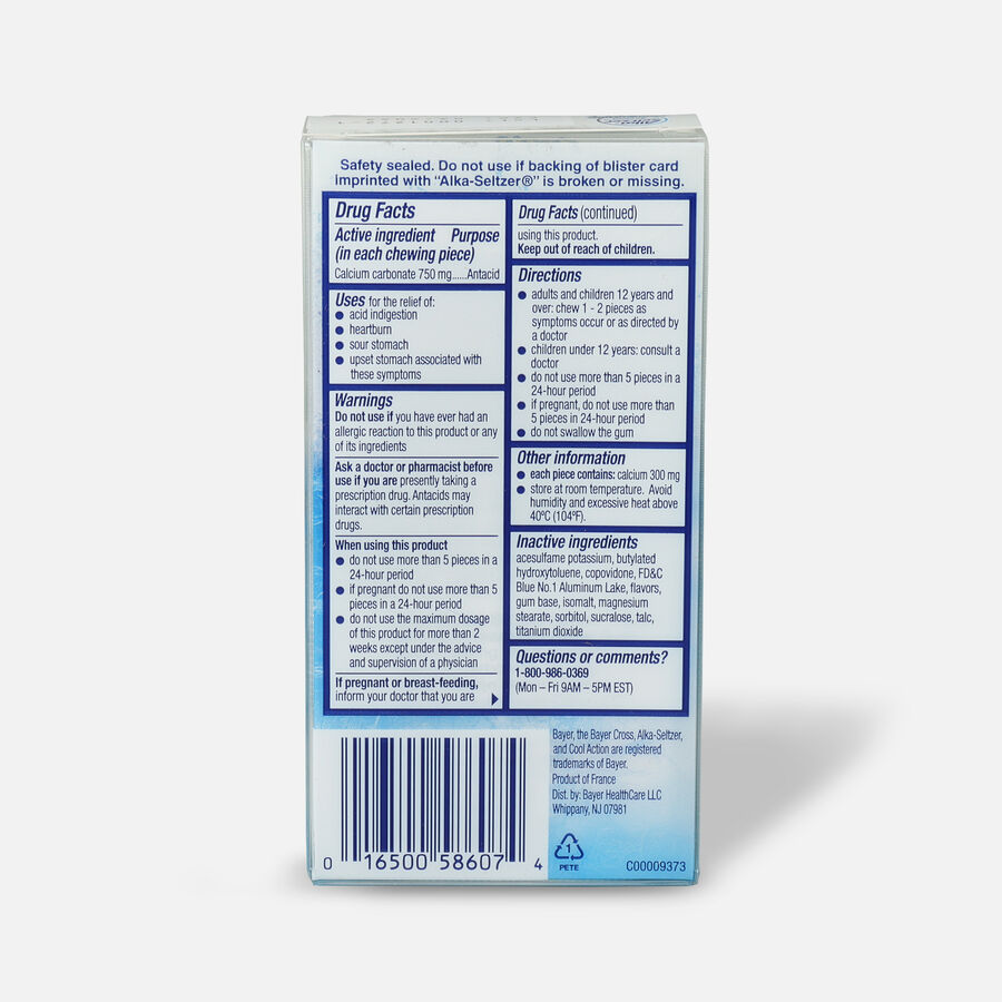Alka-Seltzer Heartburn Relief Gum, Peppermint, 16 count, , large image number 1