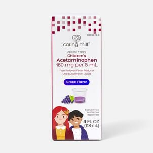Caring Mill™ Children's Acetaminophen Pain Reliever/Fever Reducer Oral Suspension Liquid, Grape Flavor, 4 fl oz