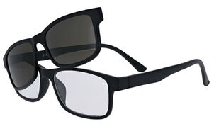 Sunglass Reader with Magnetic Detachable Polarized Lens, +2.50, Black/Smoke