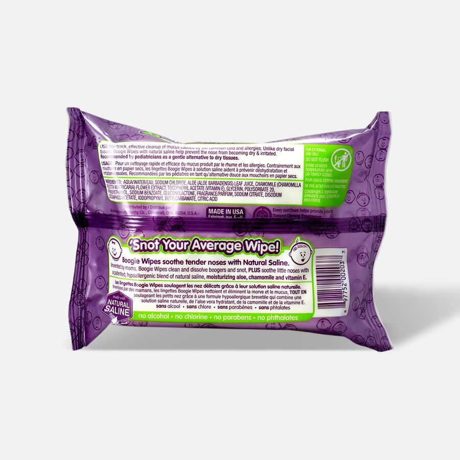 Boogie Wipes Saline Nose Wipes, Grape Scent, 30 ea, , large image number 1
