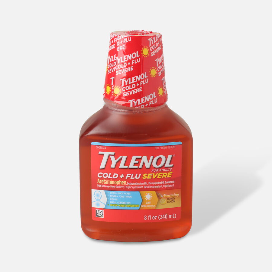 Tylenol Cold + Flu Severe Warming Honey Lemon Liquid, 8 fl oz, , large image number 0