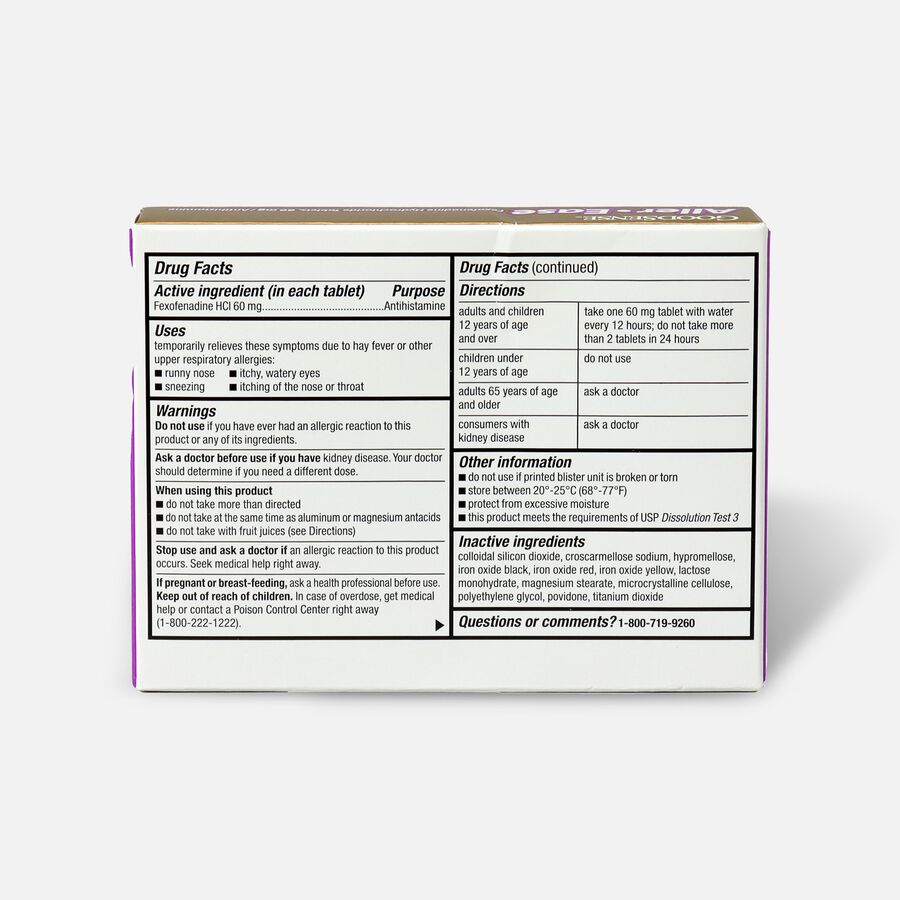 GoodSense® Aller-Ease 60 mg 12-Hour Non-Drowsy Tablets ,12 ct, , large image number 1