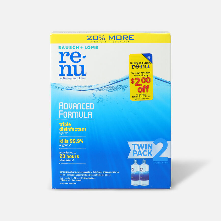 Renu Advanced Formula Multi-Purpose Contact Lens Solution, 12 oz. (Twin Pack), , large image number 0