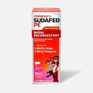Children's Sudafed PE Oral Solution, Non-Drowsy, Berry Flavor, 4 fl oz
