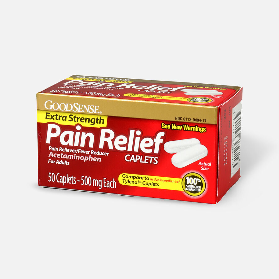 GoodSense® Pain Relief Extra Strength 500 mg Caplets, 50 ct, , large image number 2