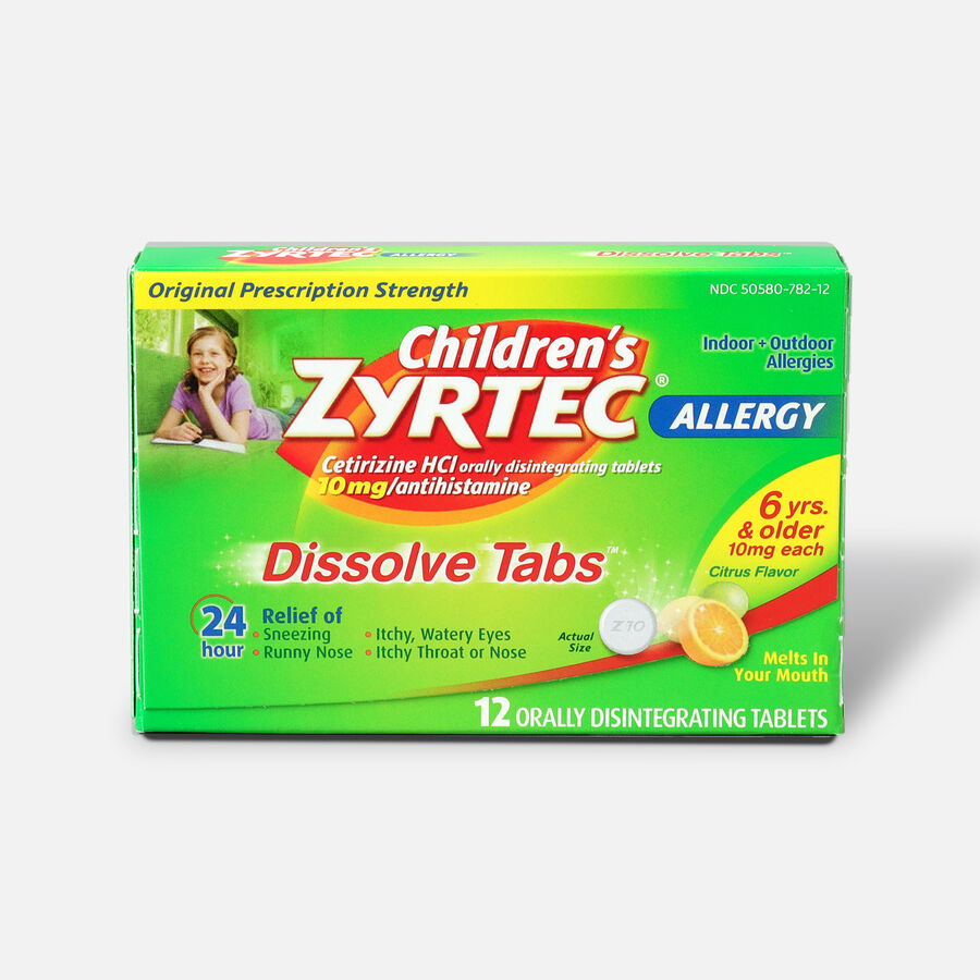 Children's Zyrtec Allergy Dissolve Tablets, Citrus Flavored, 12 Count, , large image number 0