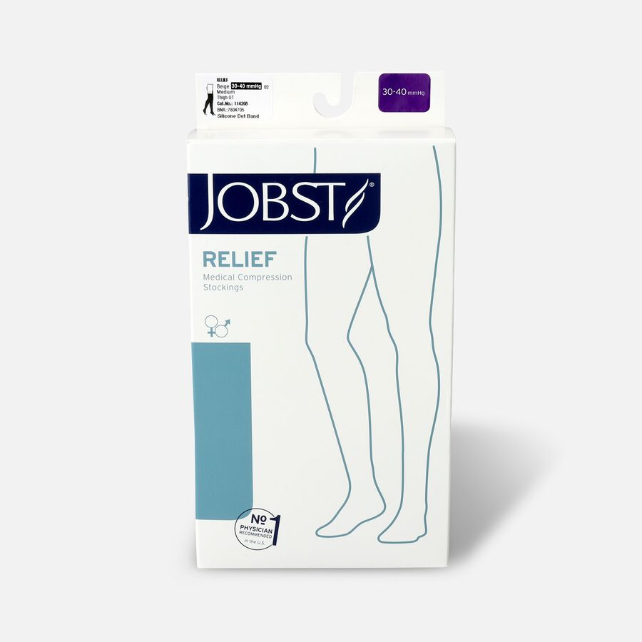 BSN Jobst Unisex Relief Thigh-High Extra-Firm Compression Stockings, Open Toe, Silicone Dot Band, Medium, Beige, , large image number 0