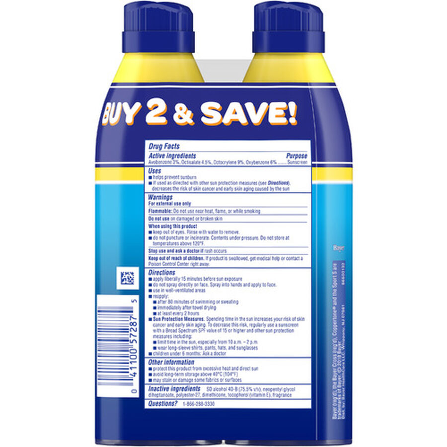 Coppertone Sport Sunscreen Spray SPF 50, Twin Pack, 5.5 oz each, , large image number 1