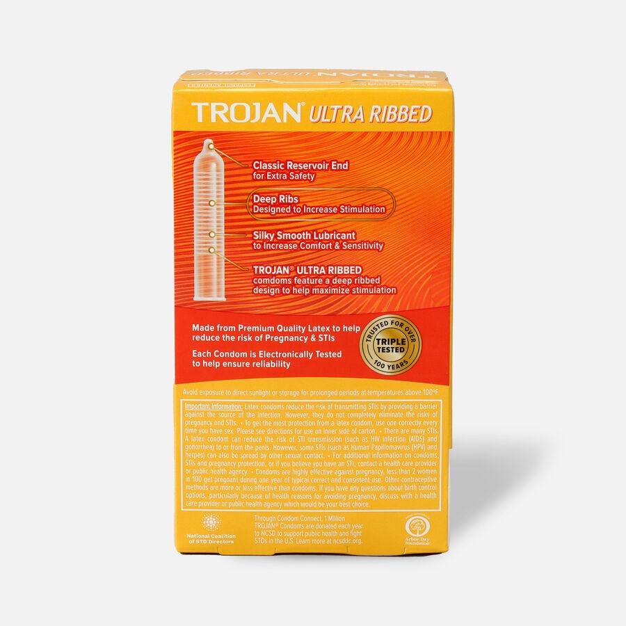 Trojan Ultra Ribbed Lubricated Premium Latex Condoms, 12 ea, , large image number 1