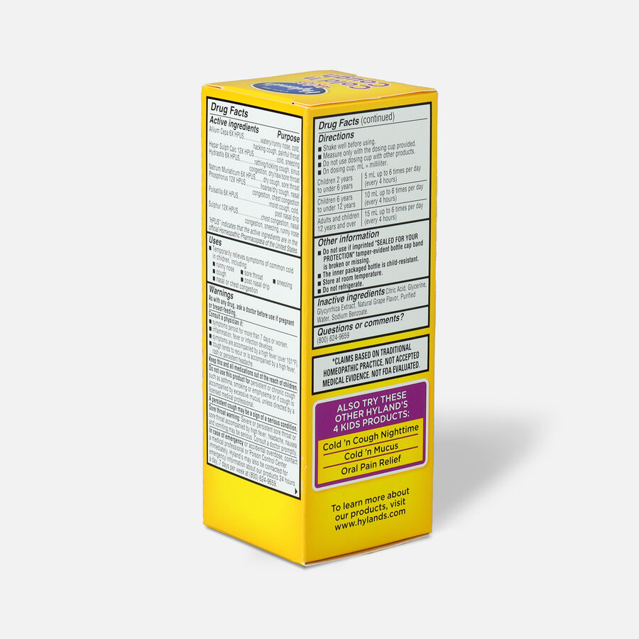 Hyland's 4 Kids Cold and Cough, Grape, 4 oz, , large image number 3