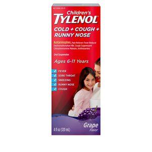 Children's Tylenol Cold + Cough + Runny Nose, Grape Flavor, 4 fl oz