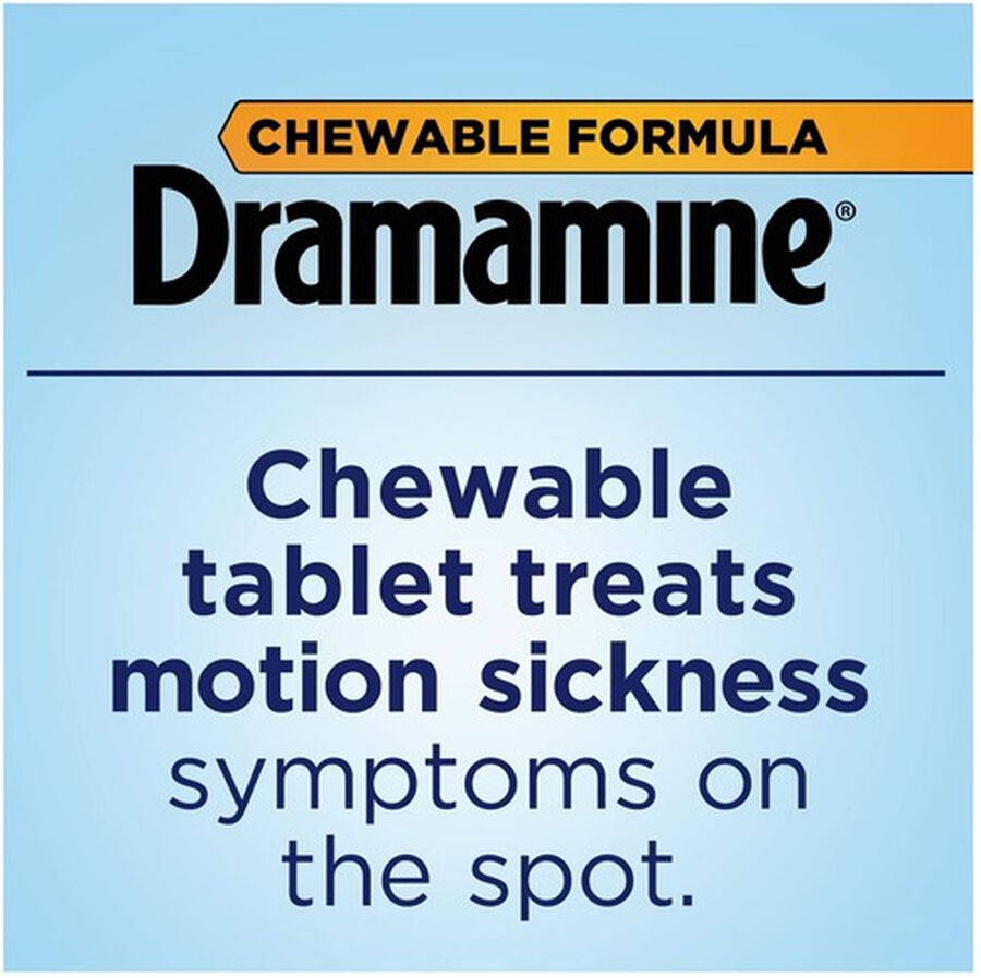 Dramamine Motion Sickness Relief Chewable Tablets, Orange Flavor, 8 ct, , large image number 2
