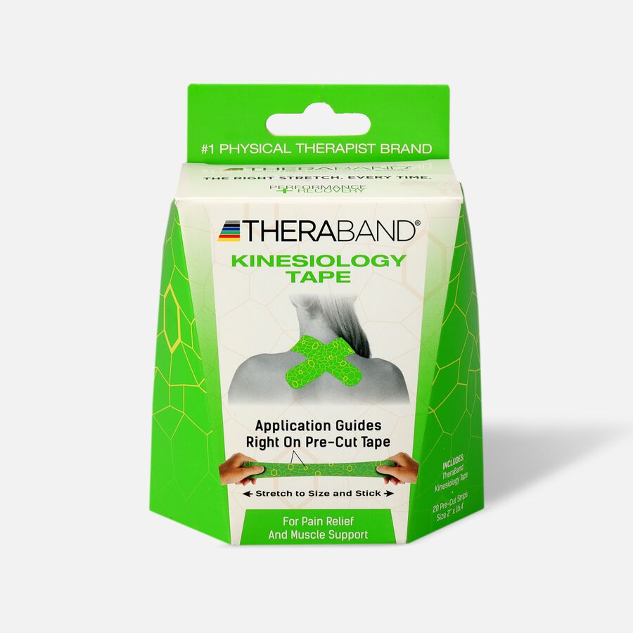 Theraband® Kinesiology Tape Precut Roll Green/Yellow, 20 ct, , large image number 0