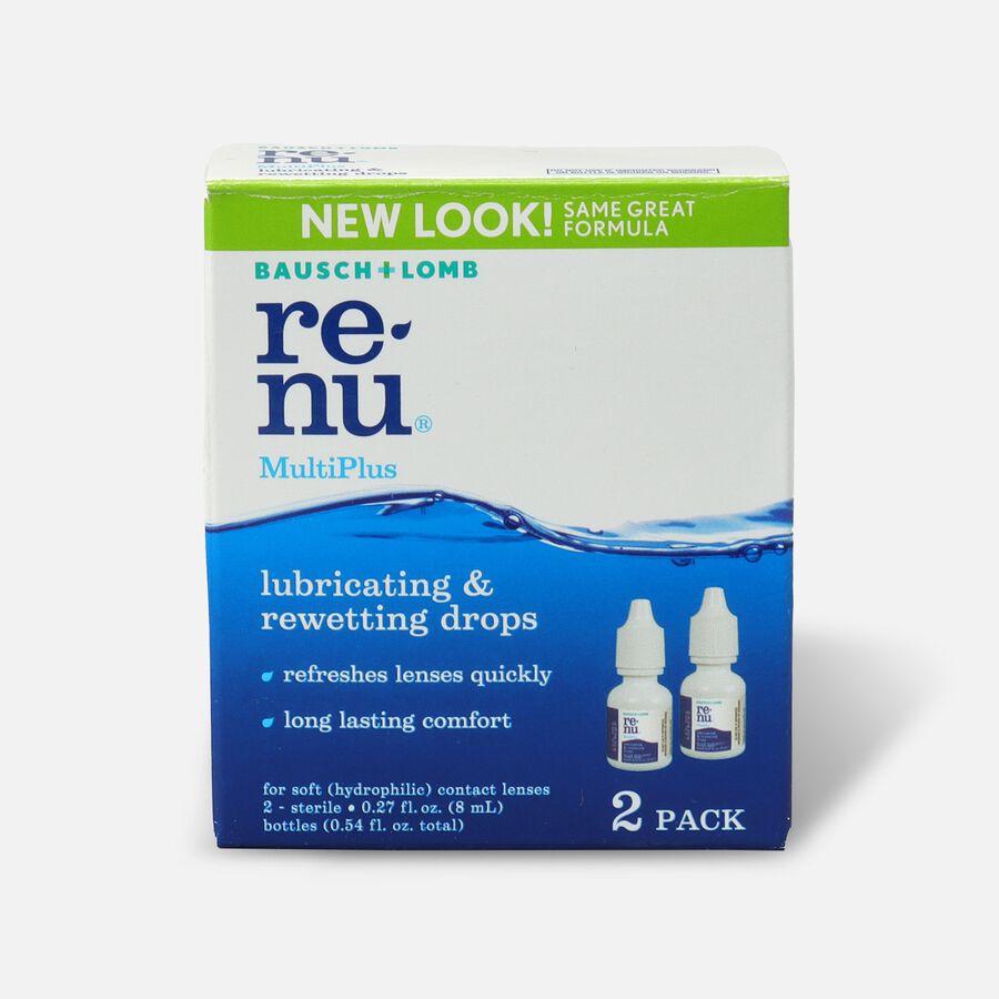 ReNu MultiPlus Lubricating & Rewetting Drops, Twin Pack, .27 oz, , large image number 1