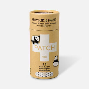 PATCH Kids Organic Bamboo Adhesive Strip Bandages with Coconut Oil, Panda Print - 25ct