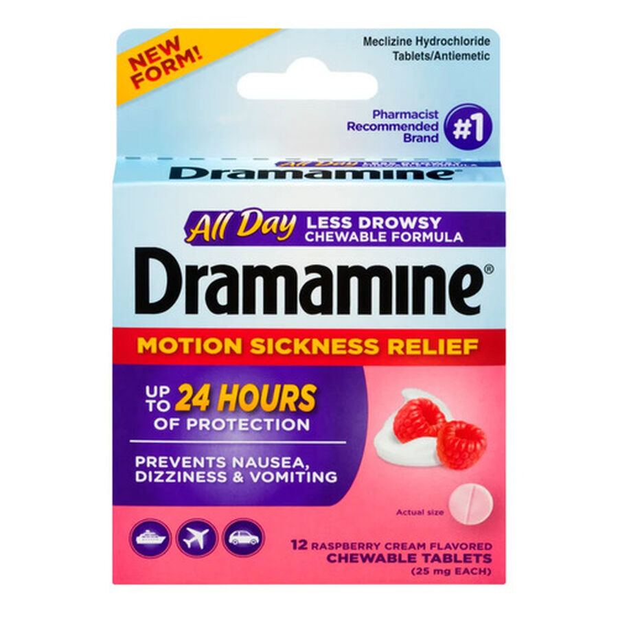 Dramamine Motion Sickness Relief All Day Chewable Tablets, Raspberry Cream, 12 ct, , large image number 0